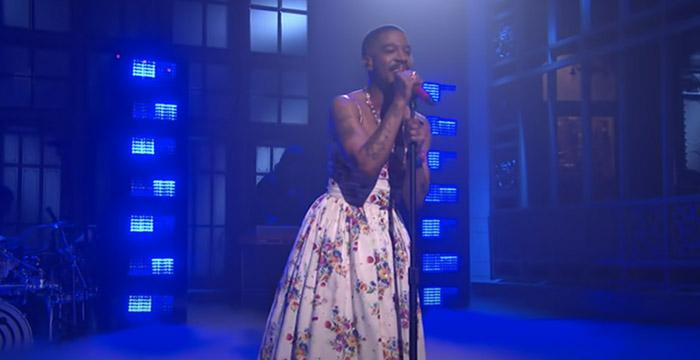 Kid Cudi Performs in Dress on SNL