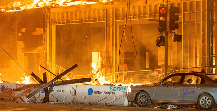 Building Burns during Riots May 2020